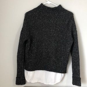 Mustard Seed Sweaters - Black sweater knitted turtleneck long sleeve